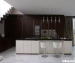 Tủ bếp Laminate công nghiệp âm tường kèm đảo bếp – TBN4545