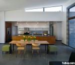 Tủ bếp Laminate màu vân gỗ dạng chữ I có bàn đảo phong cách hiện đại – TBB 2500
