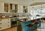 Tủ bếp gỗ tự nhiên sơn men có bàn đảo phong cách tân cổ điển sang trọng – TBB 2504