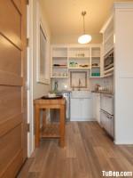 Tủ bếp gỗ Melamine màu trắng chữ L nhỏ xinh – TBN4801