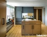 Tủ bếp MDF Laminte chữ L hiện đại có bàn đảo – TBN4884