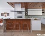 Tủ bếp Acrylic dạng chữ L bóng gương phong cách hiện đại– TBB2999