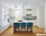 Tủ bếp chất liệu Acrylic màu trắng cao cấp kết hợp bàn đảo xinh xắn – TBN5419