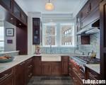 Tủ bếp chữ U chất liệu Căm xe sơn PU cổ điển – TBN5592