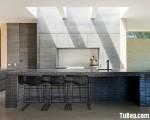 Tủ bếp gỗ Laminate màu vân gỗ có bàn đảo tiện dụng – TBT2737