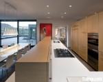 Tủ bếp gỗ Laminate màu vân gỗ thiết kế hiện đại – TBT2824