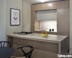 Tủ bếp gỗ Laminate màu vân gỗ có bàn đảo đơn giản – TBT2805