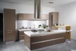 Tủ bếp Acrylic chữ I bóng gương kết hợp bàn đảo phong cách Châu Âu  – TBB3337