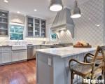 Tủ bếp gỗ Xoan Đào màu trắng chữ U đơn giản – TBT2813