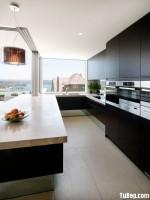 Tủ bếp gỗ Laminate màu đen chữ U – TBT2904