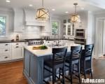 Tủ bếp chất liệu Sồi sơn men trắng kết hợp bàn đảo – TBN6209