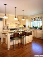 Tủ bếp gỗ Xoan Đào màu trắng đơn giản có bàn đảo – TBT2995