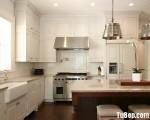 Tủ bếp chữ L chất liệu Sồi sơn men trắng cao cấp kết hợp bàn đảo – TBN6660