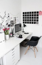 Những mẫu phòng làm việc tại nhà rất đơn giản với 2 màu đen-trắng