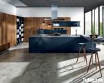 Tủ bếp gỗ Laminate màu xanh kết hợp màu vân gỗ chữ L – TBT3261
