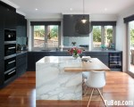 Tủ bếp Laminate dạng chữ L có bàn đảo phong cách hiện đại – TBB3740