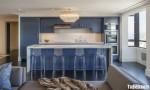 Tủ bếp gỗ Tần Bì vân gỗ sáng đẹp dạng chữ I sơn PU – TBB3721