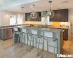 Tủ bếp Laminate dạng chữ L có bàn đảo phong cách hiện đại – TBB3732