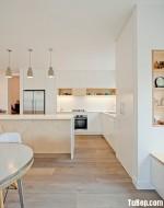 Tủ bếp gỗ Laminate màu trắng hiện đại sang trọng chữ L – TBT3293