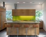 Tủ bếp gỗ Laminate t màu vân gỗ hiện đại chữ U có bàn đảo – TBT3409