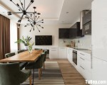 Tủ bếp gỗ Acrylic màu trắng kết hợp màu đen sang trọng – TBT3439