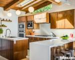 Tủ bếp gỗ Laminate thiết kế hiện đại có bàn đảo – TBT3417