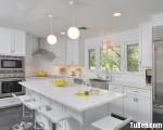 Tủ bếp gỗ Căm Xe màu trắng sơn men chữ L – TBT3428