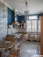 Tủ bếp gỗ Laminate màu vân gỗ thiết kế tiện dụng chữ L – TBT3507