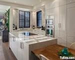Tủ bếp gỗ Acrylic màu trắng có hệ thống lò vi sóng hiện đại – TBT3479