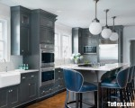 Tủ bếp gỗ Căm Xe thiết kế bán cổ điển có bàn đảo – TBT3498