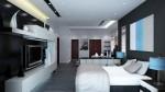 Phòng ngủ kiêm phòng làm việc và tiếp khách cực ấn tượng với tông màu chủ đạo trắng đen