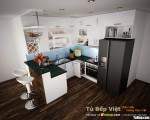 Tủ bếp Acrylic chữ L kết hợp quầy bar giải pháp hoàn hảo cho không gian nhỏ xinh – TBB4084