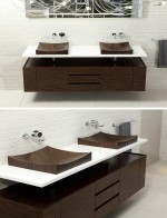 Những chiếc bồn rửa tay bằng gỗ thân thiện cho không gian phòng tắm