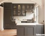Tủ bếp chữ L chất liệu gỗ Xoan đào sơn đen tuyền – TBN3741