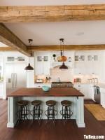 Tủ bếp chữ L chất liệu Xoan đào kết hợp bàn đảo – TBN3450