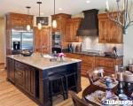 Tủ bếp gỗ Sồi màu vân gỗ thiết kế chữ L – TBT3614
