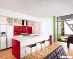 Tủ bếp gỗ Acrylic chữ I thiết kế hiện đại có bàn đảo – TBT3668