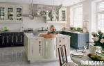 Tủ bếp gỗ Tần Bì kết hợp bàn đảo sơn men trắng phong cách Châu Âu – TBB4173