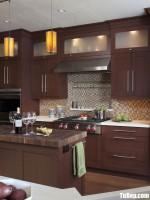 Tủ bếp gỗ Căm Xe màu vân gỗ chữ I – TBT3700