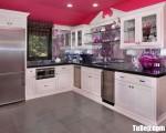 Tủ bếp gỗ Dỗi màu trắng sơn men chữ L có khung tủ lạnh – TBT3693