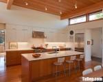 Tủ bếp gỗ Laminate màu trắng kết hợp màu vân gỗ – TBT3698