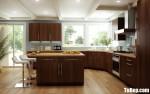 Tủ bếp Laminate vân gỗ sang trọng hiện đại – TBB4180