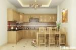 Tủ bếp gỗ Tần Bì kiểu dáng chữ L sang trọng – TBB4232