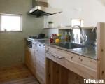Tủ bếp gỗ Laminate chữ I màu vân gỗ hiện đại – TBT3719