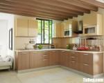 Tủ bếp gỗ Laminate màu vân gỗ chữ L – TBT3757