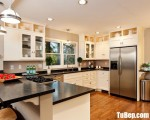 Tủ bếp chữ U chất liệu Tần bì sơn trắng – TBN6730