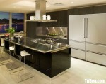 Tủ bếp gỗ Laminate có bàn đảo và khung tủ lạnh – TBT3739
