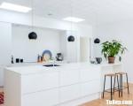 Tủ bếp gỗ Acrylic màu trắng chữ I có bàn đảo tiện dụng – TBT3729