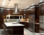 Tủ bếp gỗ Laminate màu vân gỗ có khung tủ lạnh – TBT3723