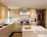 Tủ bếp gỗ Laminate màu vân gỗ chữ L có bàn đảo – TBT3789